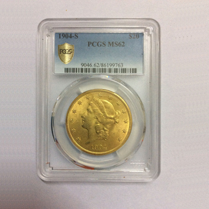 【アメリカ金貨】USA20ドル金貨 1904年【女神】USA $20 Gold Coin Liberty Double Eagle 1904-S PCGS MS62